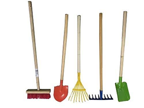 Mediablue 5 Teile Kinder Gartenwerkzeug Spaten Laubharke Schaufel Blätterrechen Garten Werkzeug
