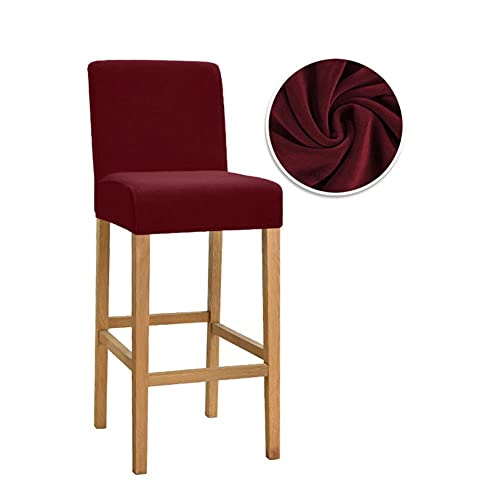 KTISMYRBBGFFSFD 1/2/4/6 Psc Velvet Elastic Chair Cover für Barhocker Short Back Dining Room Chair Schonbezug Stretch Case für Bankett-17,6 Stück