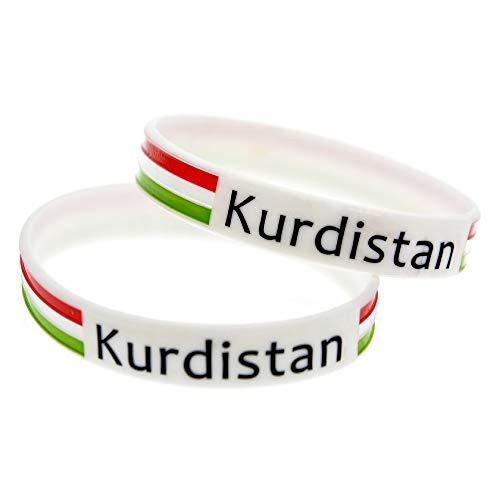 Zdy 2 Stks Siliconen Armband Kurdistan Vlag Armband Koerdische Vlag Siliconen Armband Kleurplaten Sport Polsband