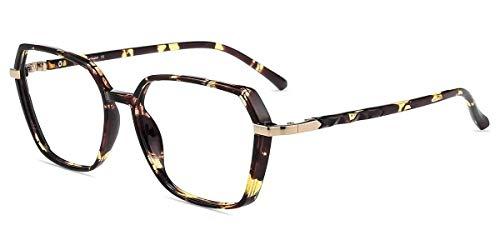 Firmoo Blue Light Blocking Glasses, Reduce Eyestrain Minimize Headache, Square Tortoise Shell Computer Glasses Blue Light Blocker for Women/Men