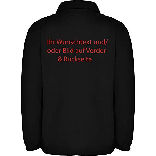 Customized Herren Fleece Jacke Jacket Pullover Full Zip mit Wunschtext und Graphik L34 (Black, L)