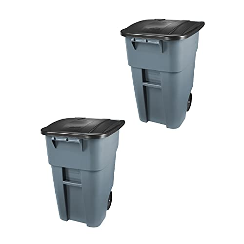 Rubbermaid Commercial Products BRUTE Rollout Heavy-Duty Wheeled Trash/Garbage Can - 50 Gallon - Gray...