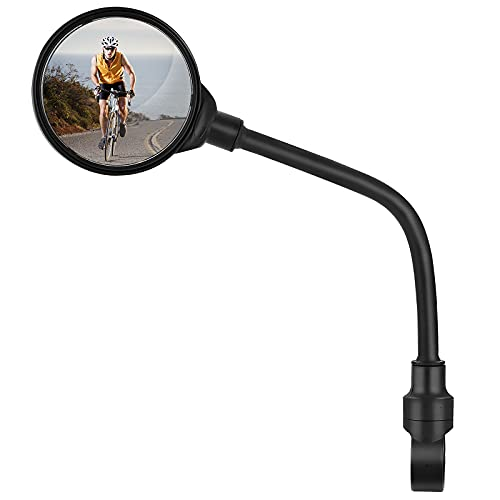 EXLECO Fahrradspiegel 1 Stück 360 ° Drehbar Mountainbike-Reflektor Runde Fahrrad Rückspiegel Verstellbar Stoßfest HD Safe Spiegel Fahrsicherheitsspiegel für Mountainbike Rennrad