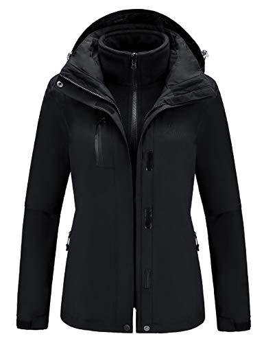 CAMEL Outdoor Jacket Women Winter Ski Jacket Windbreaker 3 in 1 Waterproof Hooded Rain Coat for Traveling Climbing Hiking 2.0 Black