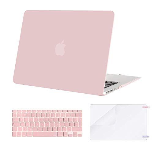 MOSISO Custodia Rigida Compatibile con 2010-2017 MacBook Air 13 Pollici Case A1369/A1466,Cover&Colore Corrispondente Tastiera Cover(Inglese EU Layout)&Proteggi Schermo,Quarzo Rosa