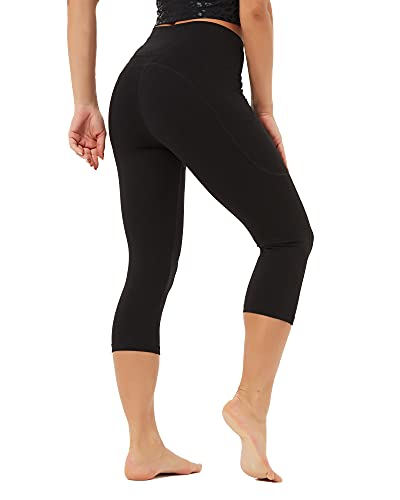 Stelle Women's Capri Yoga Pants with Pockets Essential High Waisted Legging for Workout (Silky Soft Compression-Black, Large)