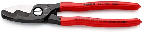 KNIPEX 95 11 200 Kabelschere mit Doppelschneide mit Kunststoff überzogen 200 mm