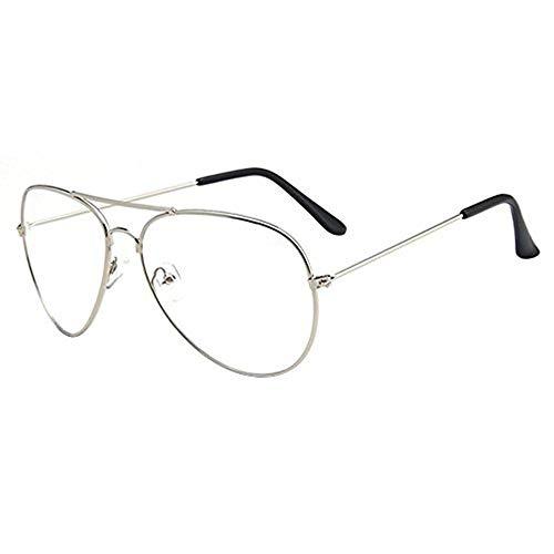 forepin - Occhiali da vista unisex, montatura in metallo, lenti per uomo e donna, adulti, vintage, vetro trasparente, stile aviatore, colore: Argento