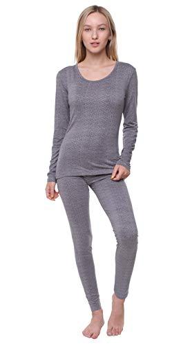 Women Thermal Underwear Set Outland; Base Layer; Soft Fleece; Top & Leggings (Heather Grey, XXX-Large)