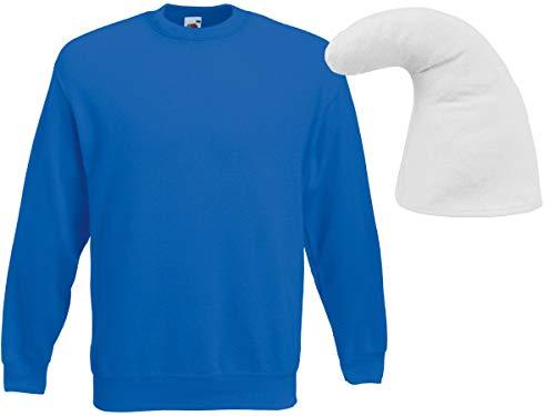 Alsino Zwerg Kostüm Zwergen Verkleidung (Kv-137) mit blauem Pullover und weißer Zwergenmütze, Größe:XL