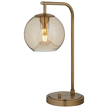 Rivet Hudson Mid-Century Brass, with Bulb, Tinted Glass Globe, 14  x 7  x 21.25