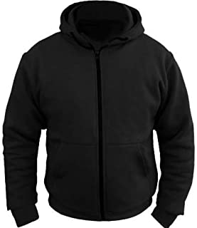 Bikers Gear Australia Kevlar Lined Protective Motorcycle Hoodie with Removable CE Armour Black