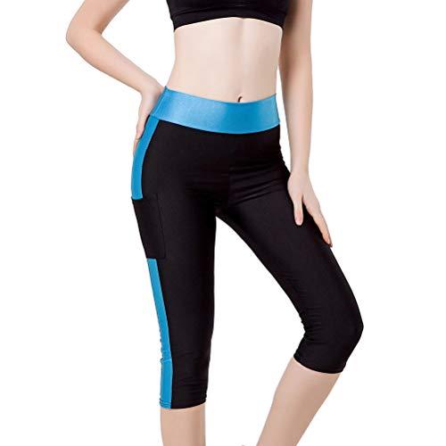 Élastique Slim épissage Yoga pantalons leggings d'entraînement extensible avec des poches pour les femmes Lady - taille 5XL (noir et bleu ciel)