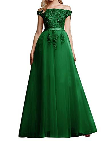 Vintage Brautkleid Abendkleider Lang A-Linie Tüll Ballkleider Hochzeitskleider Standesamt Partykleider Festkleider Grün 42