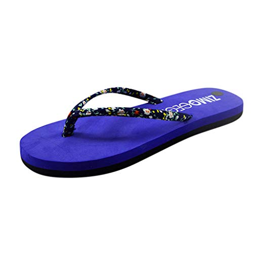 Xmiral Hausschuhe Damen Sommer Mode Blumen Biskuit rutschfeste Flip Flops Strandschuhe(37,Blau)