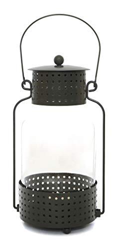 Laterne 22cm groß für draußen - Windlicht Deko als Kerzenhalter für den Garten, Balkon oder in der Wohnung im Industrial Vintage Look, dunkelgrün