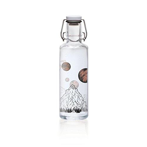 soulbottles 0,6l • The Sky is not The Limit • Trinkflasche aus Glas • plastikfrei, nachhaltig, vegan