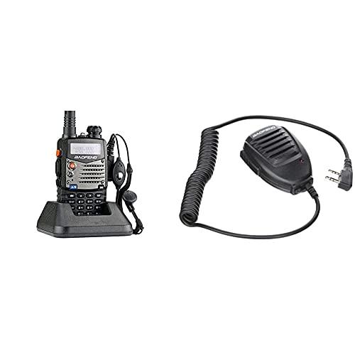 Baofeng UV-5RA Walkie Talkie 5W FM Radio VHF con Banda Dual de Doble frecuencia UHF DTMF VOX + Original de Mano UV-5R Altavoz-microono para Radio de Banda Dual