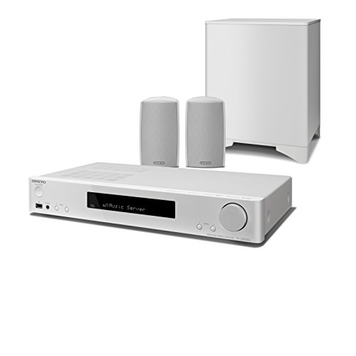 Onkyo LS5200(WH) 2.1-Kanal Heimkinosystem, inkl. Satelliten Lautsprecher und Subwoofer (WLAN, Bluetooth, Musik Streaming, Spotify, Deezer u.a., Internetradio, DAB+, Multiroom, Slimline Design), weiss