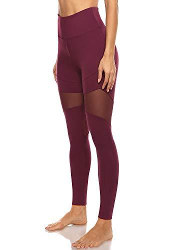 JOYSPELS Pantalones de Yoga de Cintura Alta con 2 Bolsillos Leggings de Entrenamiento para Mujeres con Malla Transpirable y Tela no Transparente - Rojo - X-Large