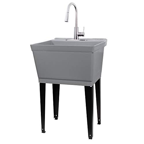 Laundry Sink Utility Tub With High Arc Stainless Steel Pull Down Faucet By JS Jackson Supplies, Heavy Duty Sinks With Installation Kit for Washing Room, Workshop, Basement, Garage, Slop Sink, Grey Tub