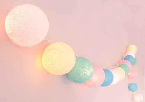 CREATIVECOTTON Guirlande Lumineuse, Boules de Coton avec Mode Timer et Mode Veilleuse (Pastel, 20 boules)