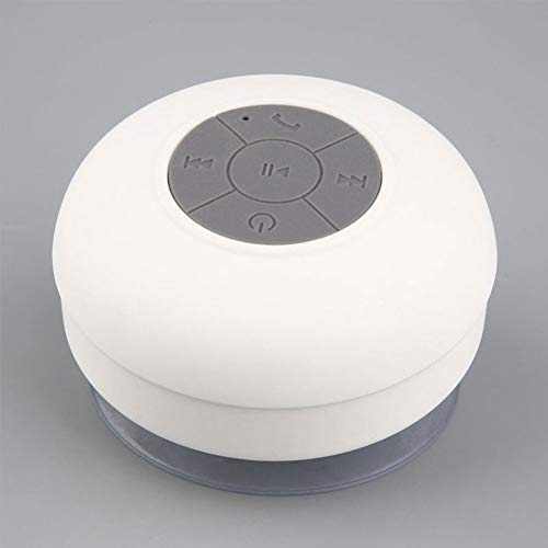 Yanbird - Altavoz de música con ventosa para ducha, estéreo, inalámbrico, Bluetooth, impermeable, color blanco