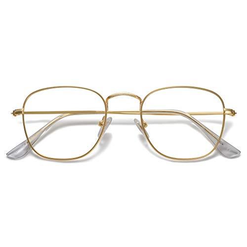 SOJOS Occhiali Anti Luce Blu Retrò Quadrati Vintage Montatura da Occhiali Computer SJ1143 con Oro Telaio/ Lente Anti-Blu