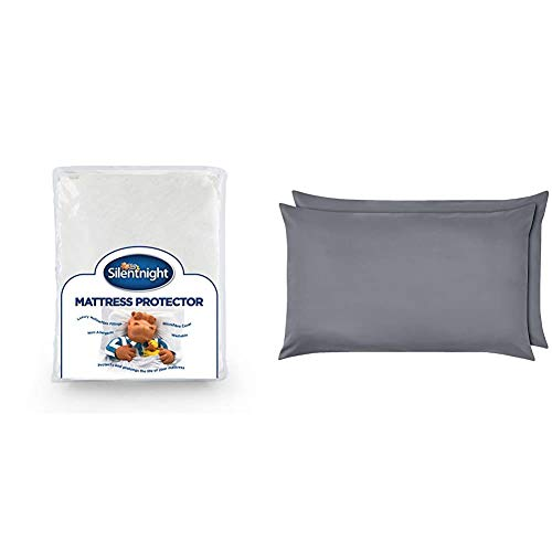 Silentnight Premium Quilted Mattress Protector-Double, Microfibre, White & AmazonBasics Microfibre Pillowcases, Dark Grey – Set of Two