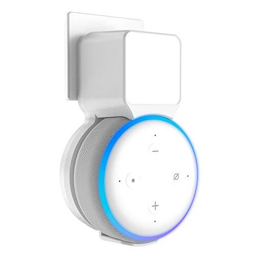 Stouchi Echo Dot - Soporte de pared compatible con Echo Dot de 3ª generación de casquillos de cable integrado, puerto de audio (blanco)
