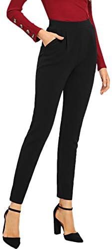 SOLY HUX Women s Pocket Side Elastic High Waist Elegant Trousers Skinny Pants Black Large product image
