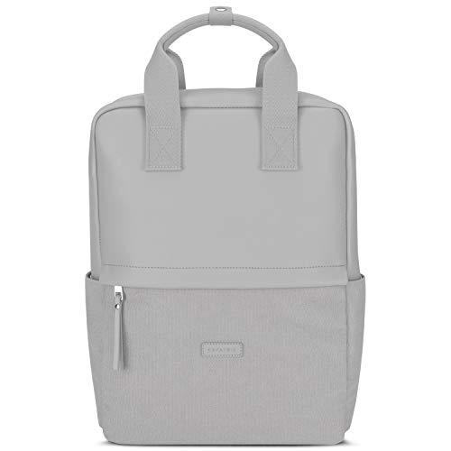 Rucksack Damen Grau - Expatrié Mila Daypack aus Baumwoll Canvas & veganem Leder - Tagesrucksack Klein für Freizeit & Business - 12 Liter Tasche mit 15 Zoll Laptopfach