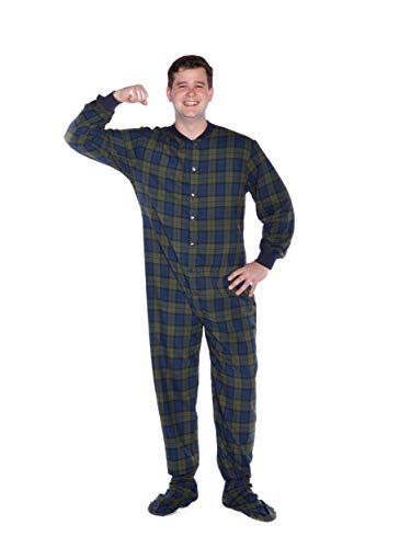 Big Feet Guarda Plaid cotone flanella Adult Footed Pajamas...