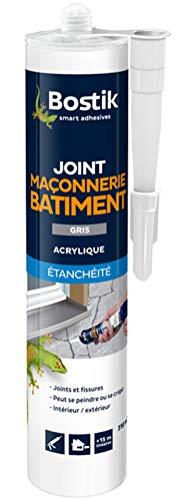 Bostik Joint Maçonnerie Bâtiment Gris, Acrylique Etanchéité - Cartouche 310ml