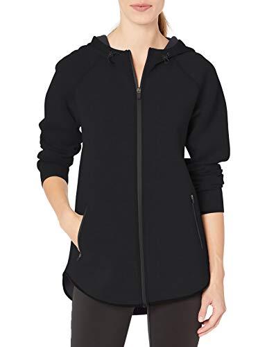 Amazon Essentials Women's Longer Length Tech-Sport Knit Full-Zip Hooded Jacket, Black, Medium