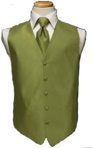 Tuxedo Vest - Herringbone Pattern with Matching Windsor Band, Fern
