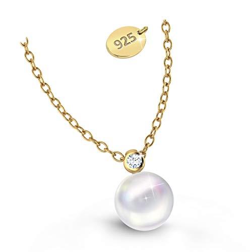 Goldkette Damen mit Anhänger Damen Goldkette mit Perlen Gold Vergoldet Swarosvki Perlen und Zirkonia Kristallen Geschenk Geburtstag