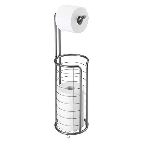 MDESIGN freistehender Klopapierhalter für das Bad oder Gäste-WC – Toilettenpapierhalter stehend aus Metall – Papierrollenhalter mit Aufbewahrung für 3 Ersatzrollen – dunkelgrau
