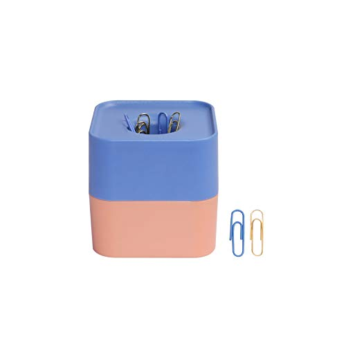 Square Magnetic Paper Clips Holder with 100 Pcs Light Blue N Gold 28mm Paper Clips 2 Colors Clips Dispenser Cute Desk Organizer for Home School N Office Supplies (Blue&Orange)