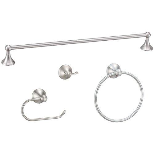Designers Impressions Newport Series 4 Piece Satin Nickel Bathroom Hardware Set