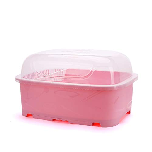 SLL- Estante de drenaje con tapa para vajilla, caja de almacenamiento de plástico para armario, gran drenaje, simple (color: D)