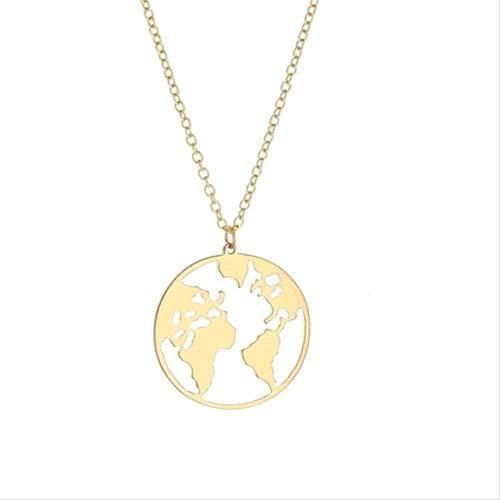 Yiffshunl Collar de Acero Inoxidable Collar de Moda Dulce romántico Mapa de la Tierra Collar Colgante Simple Collar Largo Mujeres Nueva joyería Femenina Exquisita