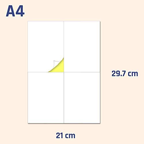 148.5 x 105 mm (A6), 200 hojas, A4 Etiqueta Adhesiva Blanca Pegatina - 4 etiquetas por hoja