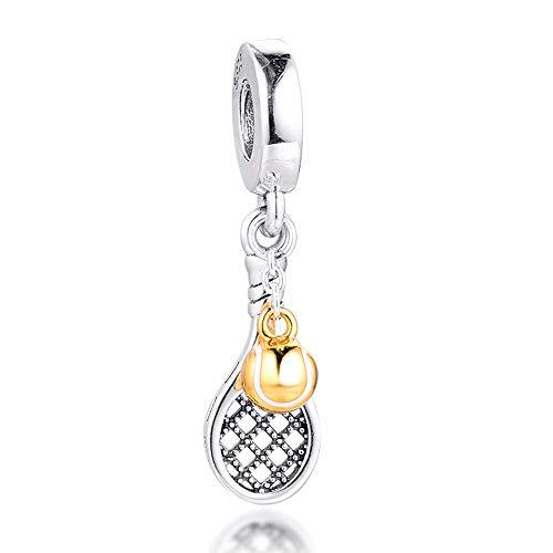 Funshoppp, ciondolo a forma di racchetta da tennis estiva 2020, in argento 925, adatto per braccialetti Pandora originali, gioielli alla moda