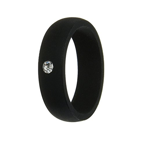 Simpleonly Women Silicone Wedding Band with Rhinestone Diamond, Black Rubber Bands Elastic Non Metal for Mechanic Workout, Athlete Exercise, Sport