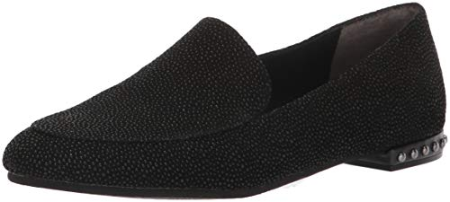 Adrianna Papell Women's Britt Moccasin, Black Searay Leather, 9.5 M US