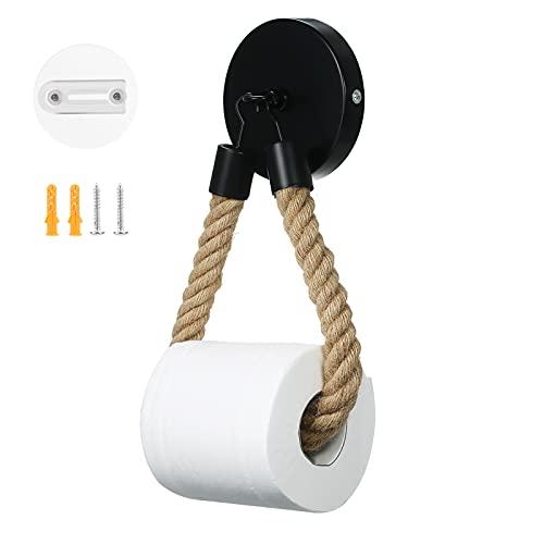 Infankey Toilettenpapierhalter ohne Bohren Vintage Klopapierhalter Schwarz Matt, WC Papier Halterung für WC Badezimmer Bad