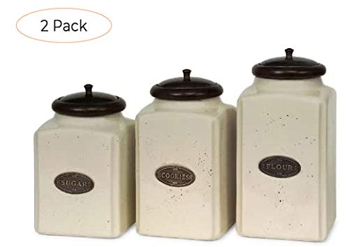 New Set of 3 Labeled Ivory Ceramic Kitchen Canisters with Lids (Twо Расk)