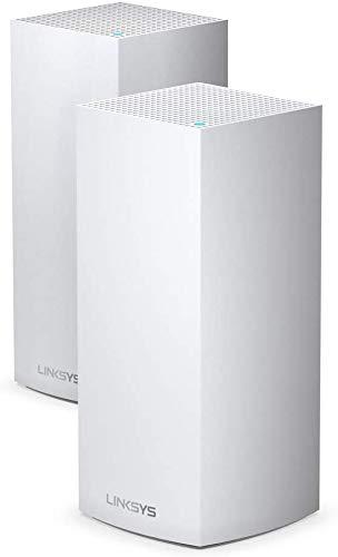Linksys MX10600 Sistema Velop WiFi 6 mesh tribanda para todo el hogar (router/extensor WiFi AX10600, 525 m² de cobertura, velocidades 4 veces más rápidas, más de 100 dispositivos, 2 nodos, blanco)