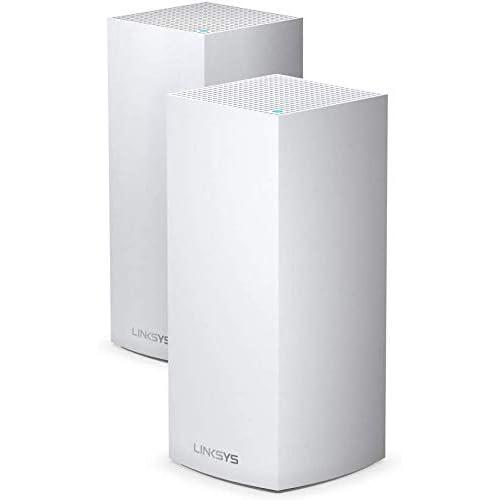 Linksys Sistema Wi-Fi 6 Mesh per Casa Serie Tri-Band Velop MX8400, Router/Extender Wi-Fi AX4200, Copertura fino a 525 m², Velocità per più di 80 Dispositivi, Confezione da 2, Bianco